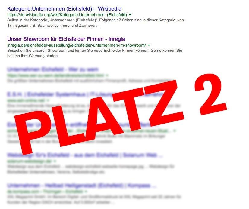 eichsfelder Unternehmen inregia google Platzierung