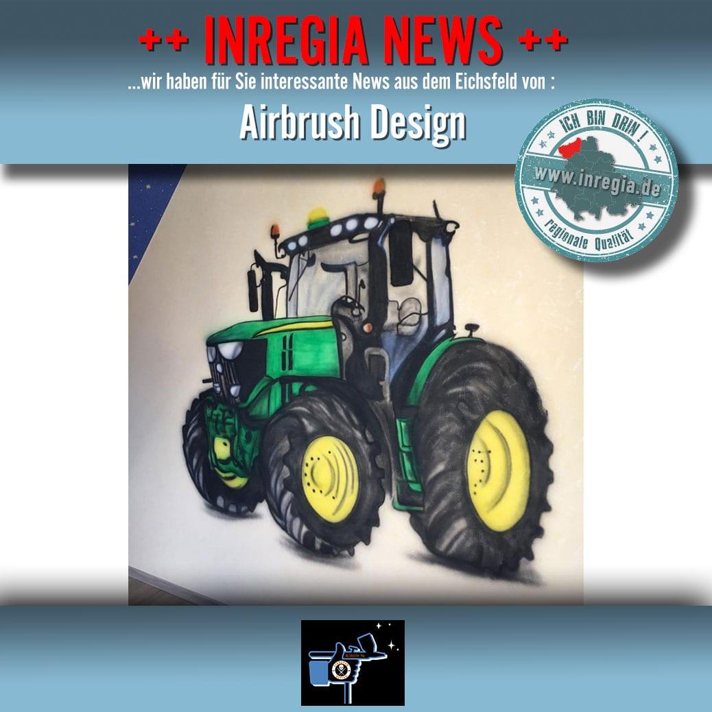 Ein Traktor als Airbrush Wandgestaltung. Dieses Wandtattoo konnten wir jetzt fertigstellen. Gerne erstellen wir auch für Sie ein einmaliges Unikat als Airbrush.