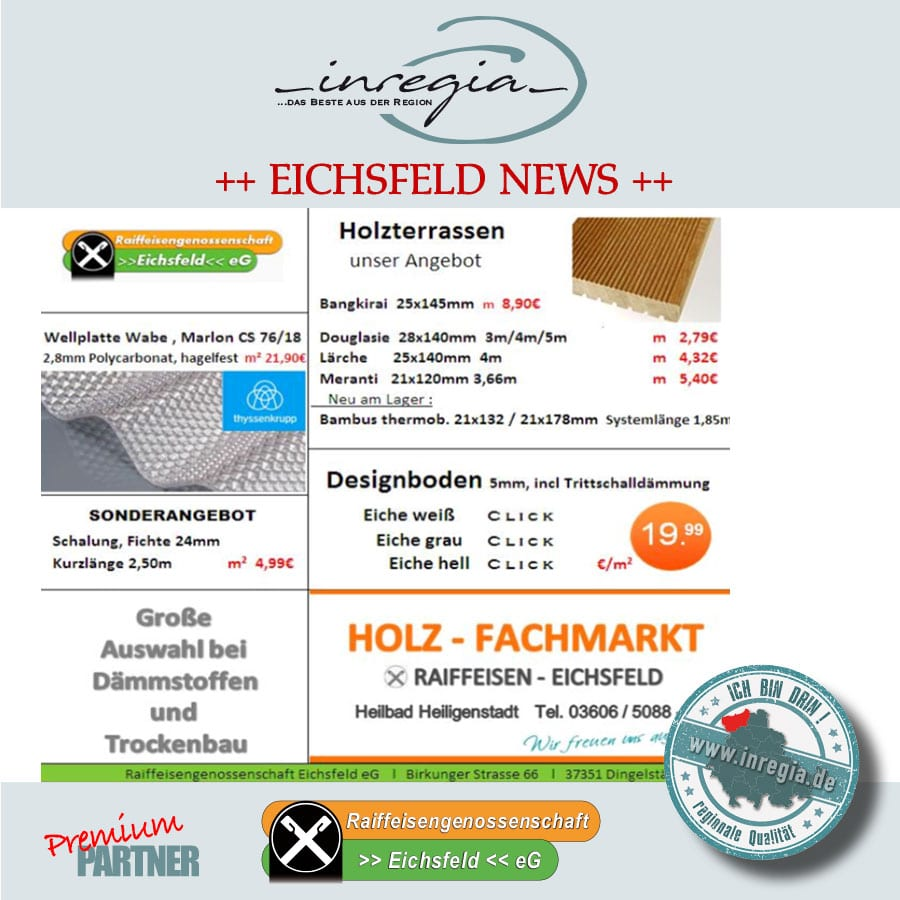 Raiffeisen Eichsfeld Baustoffe, Brennstoffe, Werkzeuge, Gartengeräte top Angebote